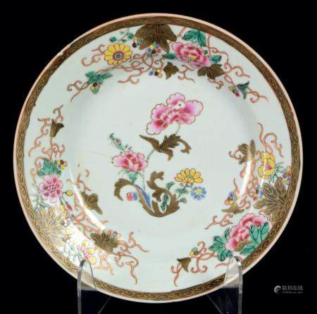 A famille rose Chinese plate, Qing dynasty, Yongzheng period