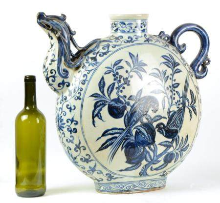 A large Chinese blue and white wine jar in style of Yuan dyn