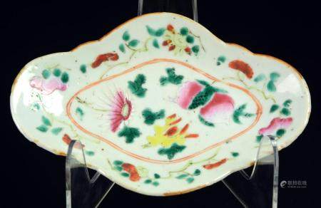 A Chinese famille rose small dish with flowers, late Qing dy