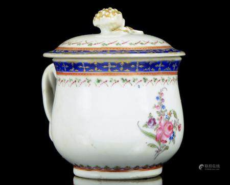 A Chinese famille rose coffee cup with cover, Qianlong perio