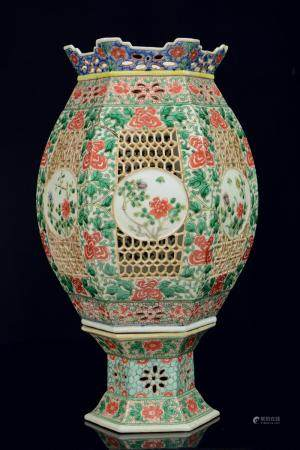 "A Chinese famille verte recticulated hexagonal porcelain ""br"