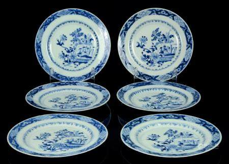 A rare Chinese Qianlong (1735-1796) period service of 6 blue