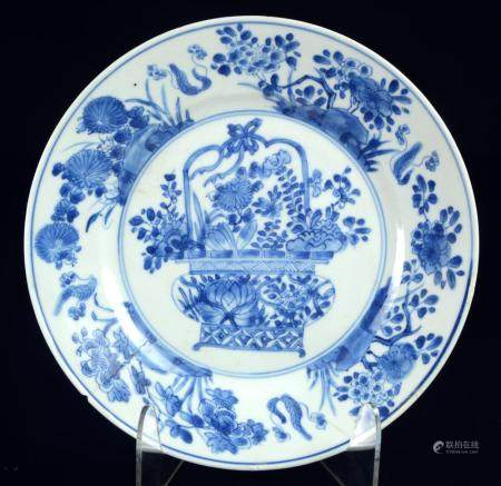 A Chinese blue and white porcelain plate, KangXi period - Ch