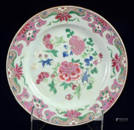 A good famille rose Chinese plate, late Yongzheng or early Q