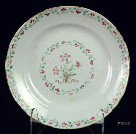 A Chinese famille rose plate with flowers, Qianlong period -