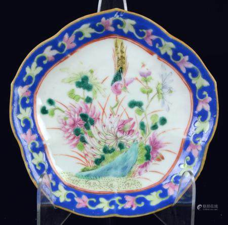 A Chinese high-foot famille rose pentagonal-shaped dish, Ton