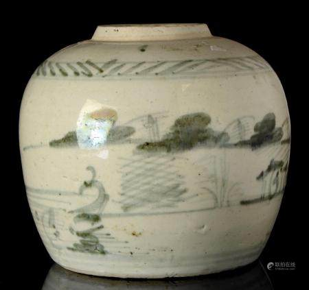 A Chinese porcelain jar, Qing dynasty, China, 17th / 18th ce