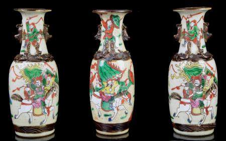 A garniture of three Chinese crackled porcelain vases with w
