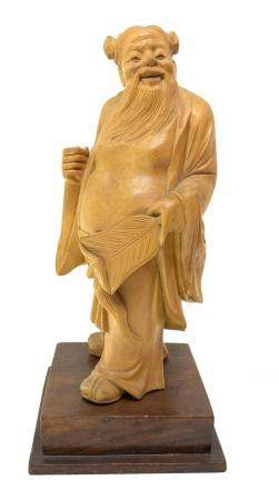 Wooden sculpture of a Chinese wiseman, China, eighteenth cen