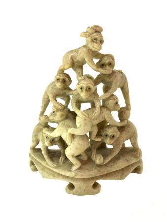 Chinese stone statuette in soapstone, pyramid of eight monke