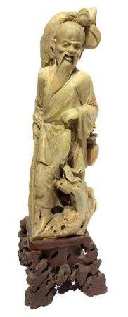 Chinese stone carving soapstone depicting fisherman. China,