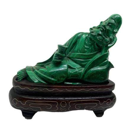 Chinese statuette in malachite, light green, Jurojin depicti