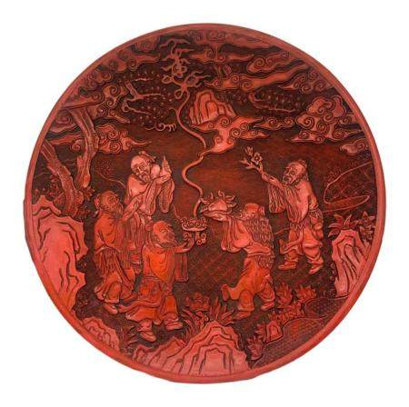 Cinnabar lacquer plate decorated in relief with a scene of T