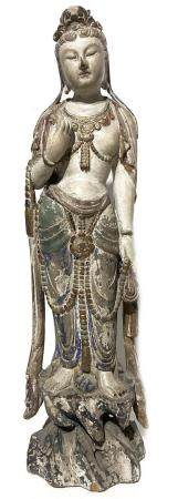 Guanyn wooden statuette, polychormatic. H cm 53,5