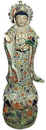 Hindu deity Lakshmi in floral dressing. H 92x23 cm. Small ch