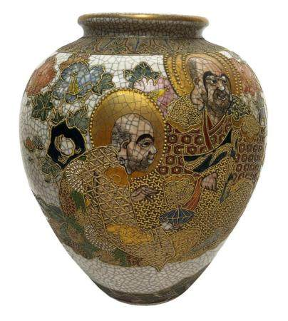 Japanese porcelain vase Satsuma, golden characters. H cm 32