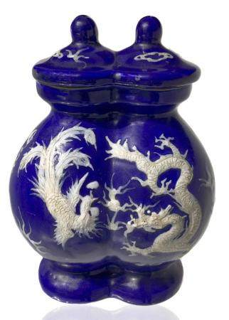 Double blue vase with relief decoration on both sides with d