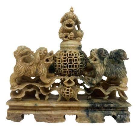 Chinese monumental soapstone incense burner depicting two sh