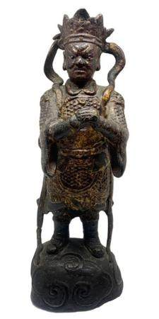 Bronze sculpture representing warrior, golden from the Ming