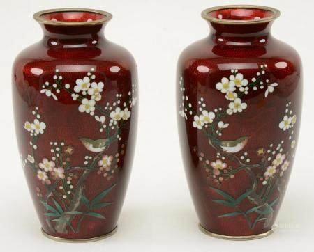 Pair of Japanese red cloisonne vases with cherry