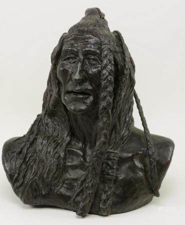 Bronze Native American Bust. Signed Perillo and dated