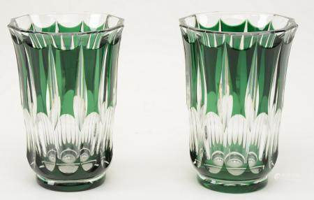 Pair of green cut to clear Val St. Lambert vases