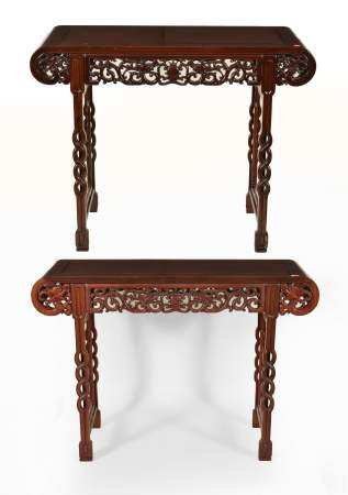 Chinese Carved Wood Altar Tables. Pierced, carved