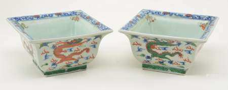 Pair of Chinese Wucia Porcelain Planters. Square form