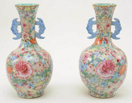 Pair of Chinese Millefiori Porcelain Vases. Chinese