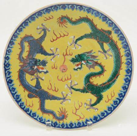 Chinese Footed Dish with Dragon Motif. Blue and green