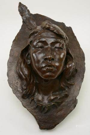 Bronze sculpture, hanging bust plaque, marked The Sioux