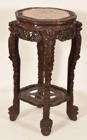 Chinese Marble Top Plant Stand. Heavily carved frame