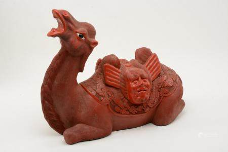Large Cinnabar Camel. Chinese. Resting camel with