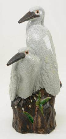 Chinese Porcelain Figure of Birds. Two cranes perched