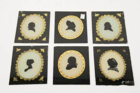 Collection of six reverse painted silhouettes on glass.