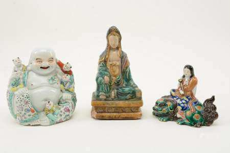 Lot of [3] Chinese Ceramic Figures. One marked