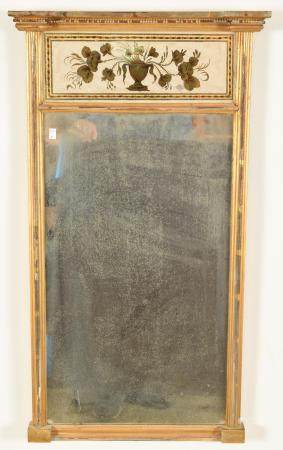 19th Century Reverse Painted Gilt Mirror. Floral urn