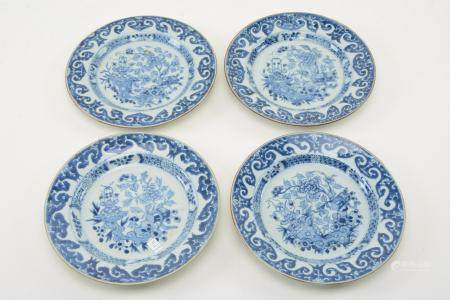18th Century Chinese Export Blue and White Plates. Set