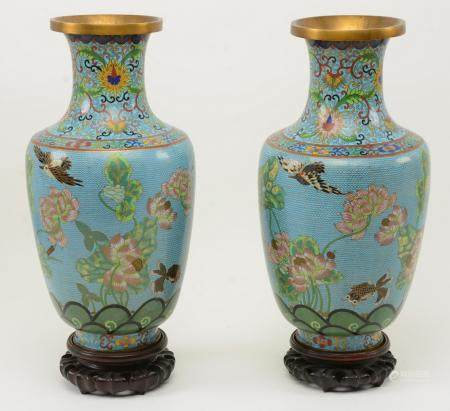 Pair of Chinese Cloisonne Vases. Colorful all over