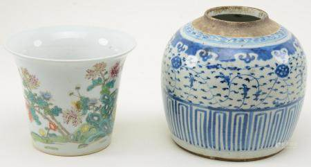 Chinese Porcelain Ginger Jar and Planter. Blue and