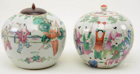 Chinese Porcelain Covered Jars with Figural Scenes. One