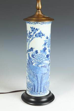 JAPANESE BLUE AND WHITE PORCELAIN LANDSCAPE DECORATED CYLIND