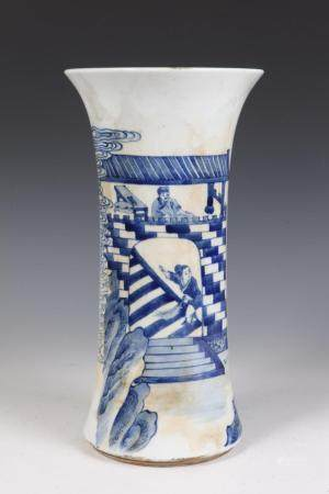 CHINESE QING BLUE AND WHITE GU VASE, Qing style. - H:13 in.