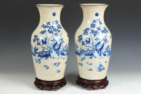 PAIR CHINESE BLUE AND WHITE FIGURAL AND FLORAL DECORATED POR