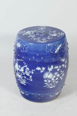 CHINESE BLUE GLAZED PORCELAIN BARREL FORM GARDEN SEAT, - H: