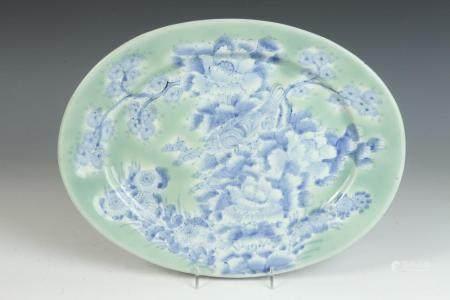 ANTIQUE JAPANESE BLUE AND WHITE DECORATED CELADON GLAZED POR