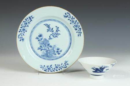 TWO PIECES ASIAN BLUE AND WHITE PORCELAIN PLATE AND BOWL WIT