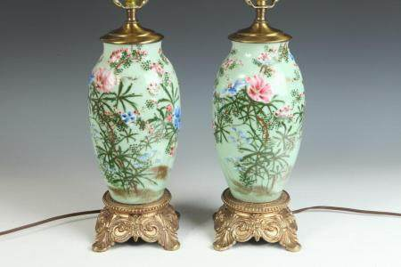 PAIR CHINESE POLYCHROME-PAINTED CELADON GLAZED PORCELAIN OVO