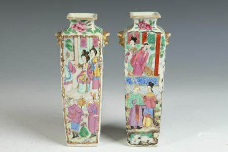 PAIR CHINESE ROSE MEDALLION/FAMILLE ROSE PORCELAIN CLUB-FORM