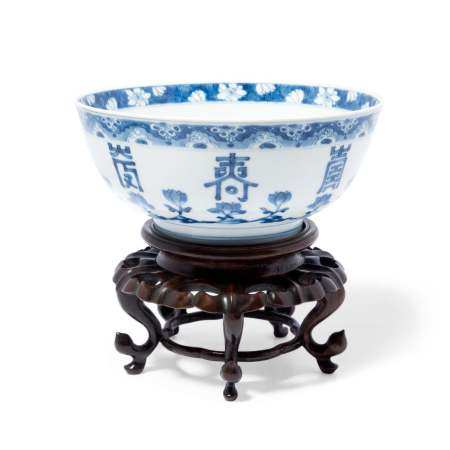A RARE BLUE AND WHITE 'LOTUS AND SHOU' BOWL